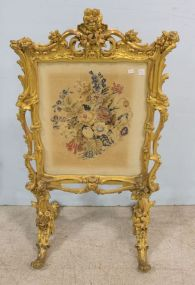18th Century Water Gilded Fire Screen with Petite Point Embroidery