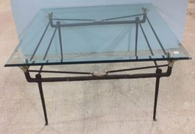 Ram's Head Iron Base with Beveled Glass Top Table