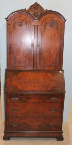 1920's Drop Front Burled Walnut Veneer Secretary