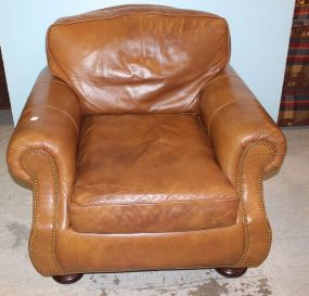 Hancock and Moore Leather Arm Chair with Nailhead Trim
