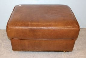 Hancock and Moore Leather Ottoman with Nail Head Trim