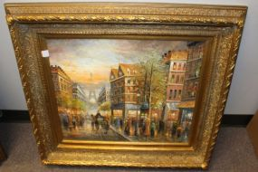 Oil Painting of Paris Street Scene Signed Steven