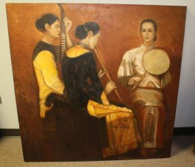 Large Painting of Three Female Musicians on Board