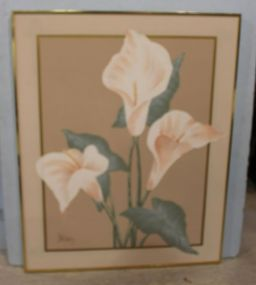 Large Lee Reynolds Oil Painting of Calla Lilies