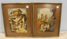 Pair of Spanish Style Watercolors Matted and Framed Signed MAX  V.