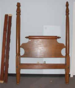 Antique Four Post Maple Bed with Rolling Pin Headboard