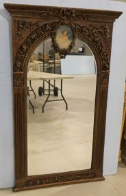 Beautiful Trumeau  Mirror with Beveled Glass and Hand Painted Cupid