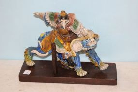 Antique Chinese Roof Tile Guardian on Foo Dog