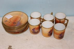Morimura Nippon Set of Handpainted Demitasse Cups and Saucers