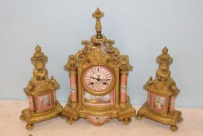 Henri Marc Paris Garniture Set with Sevres Porcelain Accents