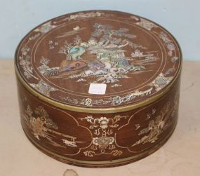Round Oriental Sewing or Cosmetic Box with Mother of Pearl Inlay