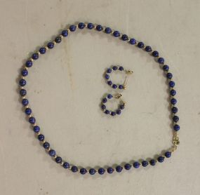 A 14K Yellow Gold Lapis and 14K Yellow Gold Bead Necklace and Earring Set