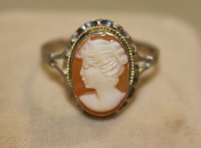 Cameo Ring in Sterling Silver with a Yellow Gold Rope Accent Surrounding  Frame