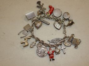 Sterling Silver Charm Bracelet with Twenty Two Charms