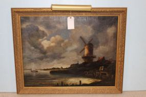 Original Oil Painting in Dutch Style In Gilt Frame with Light