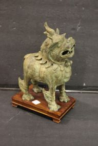 Bronze Foo Dog on Stand with Hinged Head Lid