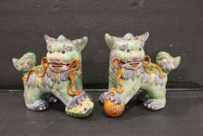 Pair of Marked Chinese Foo Dogs