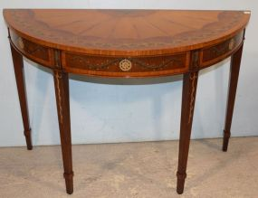 Georgian Style Banded Mahogany Demi-Lune Table with Polychrome Design