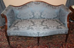 Mahogany Chippendale Camelback Settee with Bowed Seat and Spade Feet