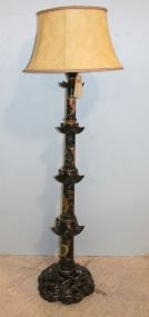 Chinoiserie Pagoda Style Floor Lamp with Shade