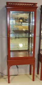 Century Red Chippendale Style Curio Lighted Display Cabinet