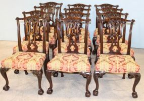 Twelve Claw and Ball Chippendale Dining Table Chairs