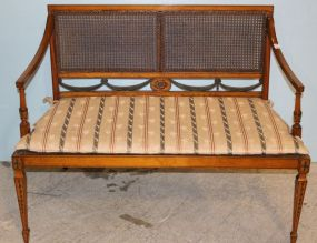 Polychromed Satinwood French Cane Back and Bottom Bench