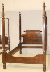 Plantation Style Four Post Mahogany Bed with Wooden Rails