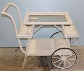 Wicker Tea Cart with Removable Glass Tray