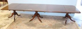 Antique Pedestal Dining Table with Two Leaves
