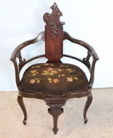 Victorian Chair with Embroidered Seat