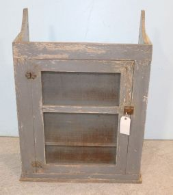 Blue Primitive Style Hanging Cabinet