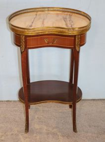 French Style Inlaid Ormolu Mounted with Marble Top Table