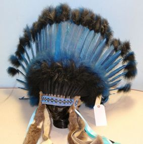 Navajo Blue Headdress with the Native American Arts Tag
