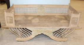 Carved Bleached Wood Bench