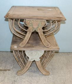 Two Carved Bleached wood Side Tables