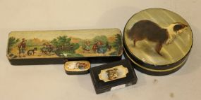 Round Paper Box with Dog and Two Vintage Paper Mache' Snuff Boxes with Dogs and a Antique Paper Mache' Pencil Box