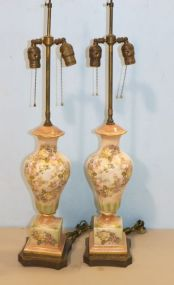 Pair of Transfer and Painted Porcelain Double Socket Lamps with Brass Bases