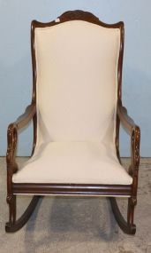Swan Arm Rocker with Upholstered Back and Seat