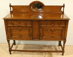 Oak Barley Twist Buffet with Mirror