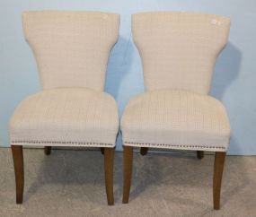 Pair of White Greek Key Upholstered Chairs with Nailhead Trim