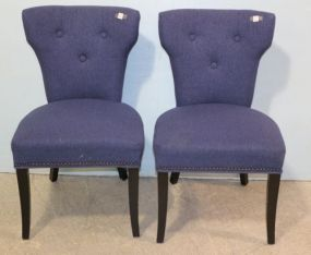 Pair of Blue Upholstered Chairs with Nailhead Trim