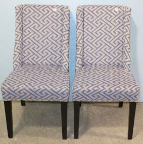 Pair of Blue and White Chairs with Nailhead Trim