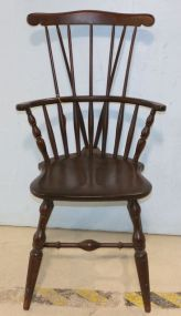 Windsor Fiddle Back Arm Chair Marked Underneath Bent Brothers 1867 Garner, Mass.