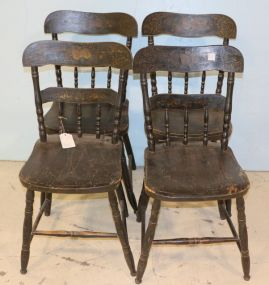 Set of Four Stenciled Hitchcock Style Chairs