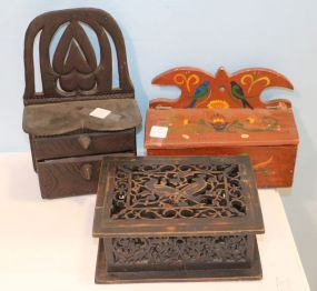 Pennsylvania Dutch Style Candle Box, A Carved Box and a Primitive Folk Art Box with Two Drawers Made with Cigar Boxes