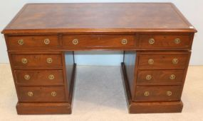 English Leather Top Desk with Nine Drawers