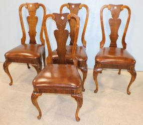 American of Martinsville Mahogany  Set of Four Queen Anne Chairs