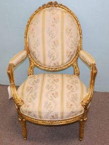 French Louis XV Style Upholstered Arm Chair with Water Gilding