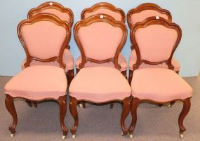 French Walnut Six Upholstered Dining Chairs